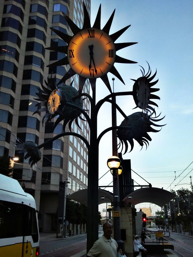 Clock Sculpture at Pearl Station